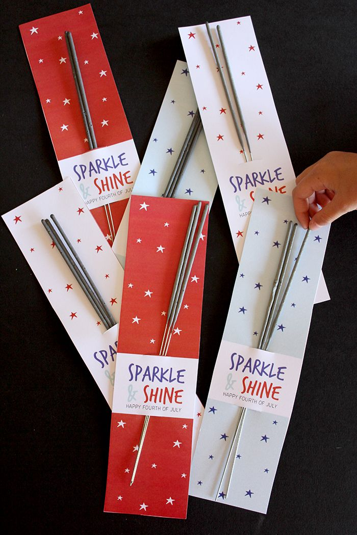 Fourth of July sparkler sleeve free printable