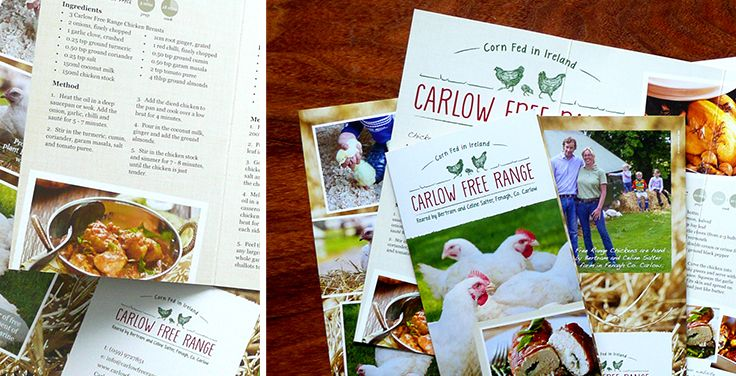 Chicken recipe brochures we did for Carlow Free Range available in butchers nationwide www.akgraphics.ie