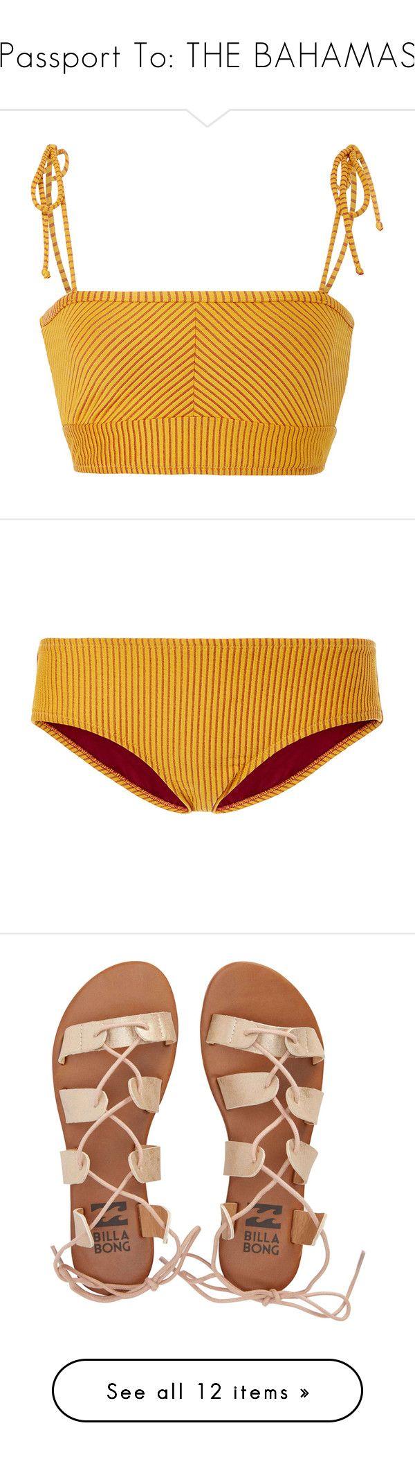 """Passport To: THE BAHAMAS"" by sunsetlvrs ❤ liked on Polyvore featuring tops, shirts, crop top, swimwear, orange, bikinis, bikini bottoms, bottoms, panties and swim"
