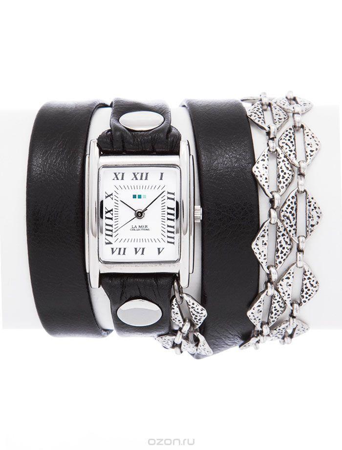 Часы наручные женские La Mer Collections Chain Silver Aztec. LMMULTI2017LMMULTI2017Часы оснащены японским кварцевым механизмом. Корпус прямоугольной формы выполнен из нержавеющей стали серебристого цвета. Оригинальный кожаный ремешок черного цвета отделан металлическими клепками и дополнен цепочкой. Каждая модель женских наручных часов La Mer Collections имеет эксклюзивный дизайн, в основу которого положено необычное сочетание классических циферблатов с удлиненными кожаными ремешками…