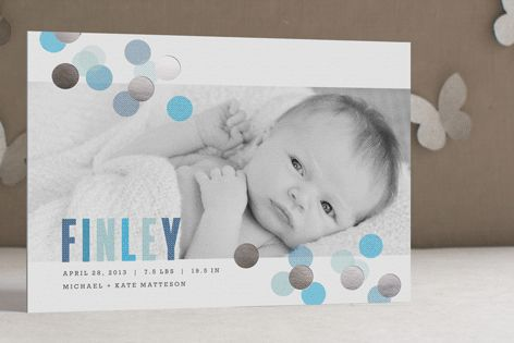 Confetti Foil-Pressed Birth Announcement Cards by Kristie Kern at minted.com