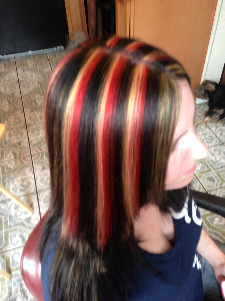 Long black hair with red and blonde highlights the best black best 25 black hair red highlights ideas on pmusecretfo Image collections