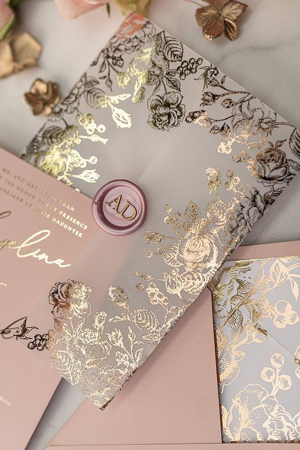 Rose Gold Luxory Wedding Invitations Uk Vellum Glitter Wrap Blush Pink Wax Seal 05 Goldkalw W In 2020 Gold Wedding Invitations Wedding Invitations Uk Gold Invitations