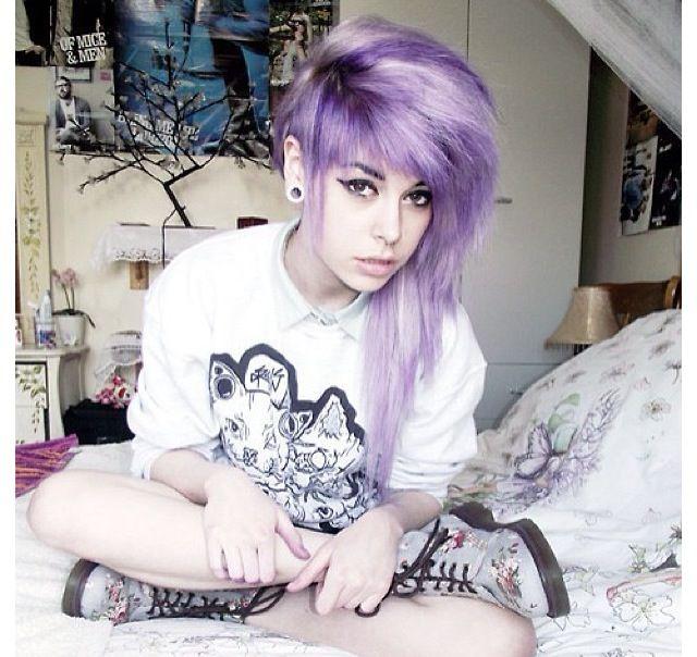 Emo teen girls with purple hair