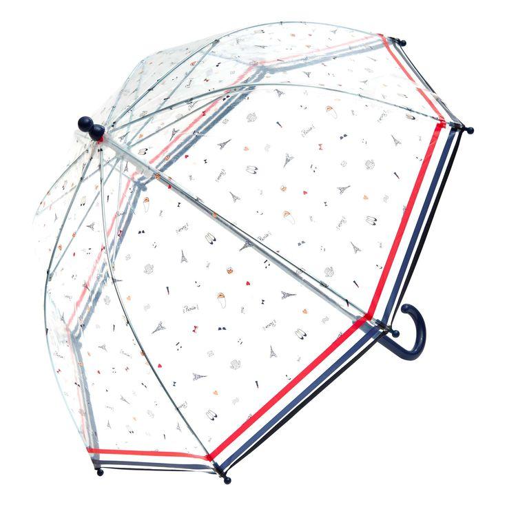 Parapluie transparent motif                                       bleu paris Fille