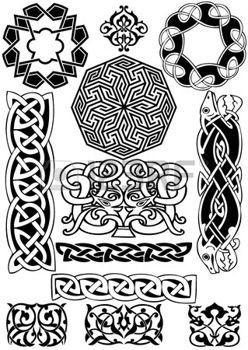 keltisch: Keltische Kunst-Sammlung auf einem weißen Hintergrund.                                                                                                                                                     Mehr