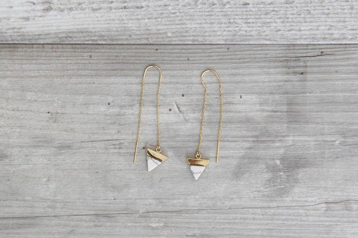 Ohrhänger - Ohrringe Hänger Thread Dreieck Howlith Marmor - ein Designerstück von State-of-A bei DaWanda
