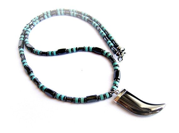 Fang necklace mens stone bead necklace black hematite turquoise howlite gift for him ethnic necklace black fang stone pendant necklace