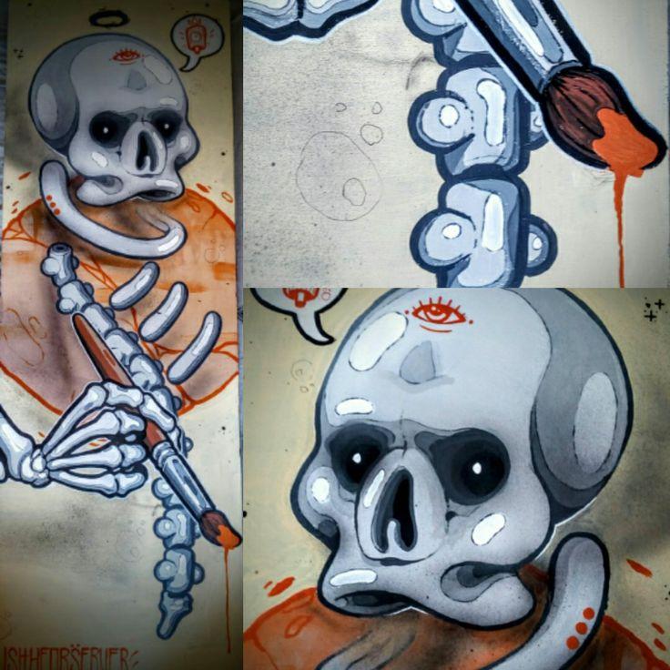 Art skull   Acrilyc on wood  1x30cm