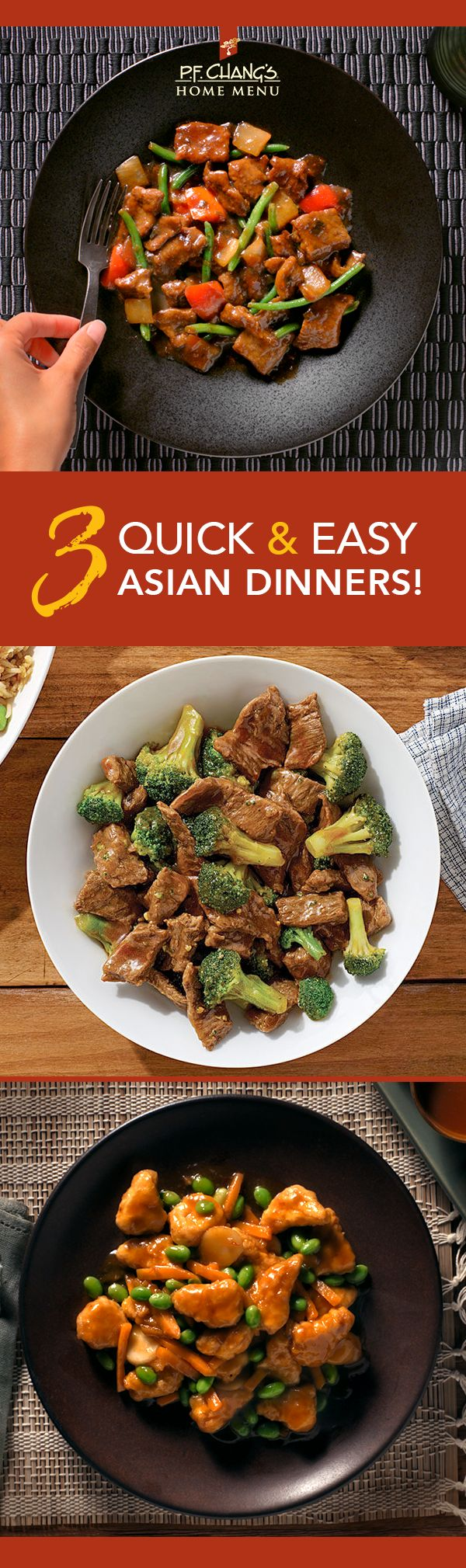 Shake up weeknight family meals with quick and easy Asian dinners from P.F. Chang's Home Menu like Mongolian Beef, Beef & Broccoli, and Orange Chicken. Look for them in the frozen food aisle!