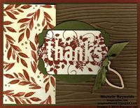"""Handmade thank you card using Stampin' Up! products - Seasonally Scattered Set, Color Me Autumn Designer Series Paper, Autumn Wooden Elements, 3/8"""" Stitched Satin Ribbon, Woodgrain Embossing Folder, Chalk Talk Framelits, and Deco Labels Collection Framelits.  By Michele Reynolds, Inspiration Ink, http://inspirationink.typepad.com/inspiration-ink/2014/10/walk-in-wednesday-fall-fest-and-seasonally-scattered.html."""