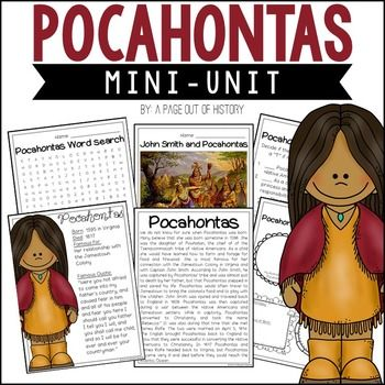 This mini unit about Pocahontas is the PERFECT addition to your social studies curriculum during women's history month! There are a variety of fun activities to do with your students during this unit! The best part? It's NO PREP! Just print, copy, & go!In this mini-unit, your students will read a biographical summary of Pocahontass life and use what they have learned to complete a variety of activities.