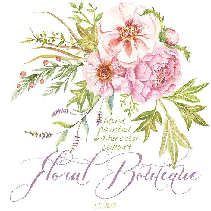 Peonia Сlipart acquerello. Clipart fiore disegnato di ReachDreams