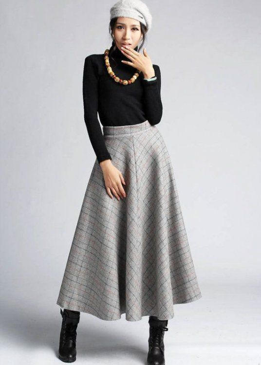 maxi skirt and shoes in winter 1