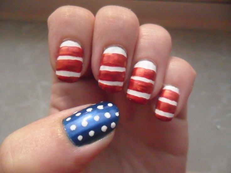 memorial day toe nail designs