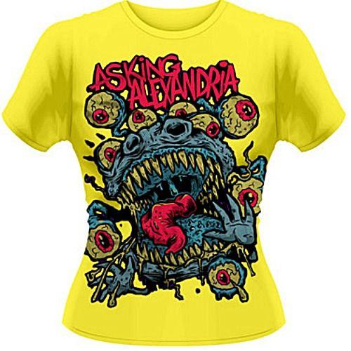 Official Asking Alexandria ladies tee features Eyeballs design on front.  Get yours here: http://heavymetalmerchant.com/product/asking-alexandria-eyeballs-girls-shirt