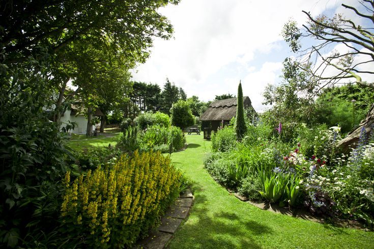 Liz's glorious organic, picturesque cottage gardens with children's play area exclusive to our guests.