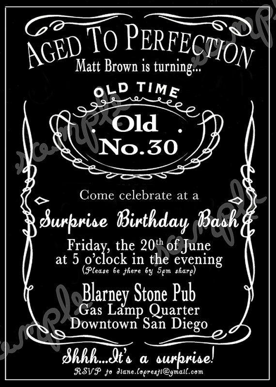 Custom Jack Daniels Whiskey Invitation By