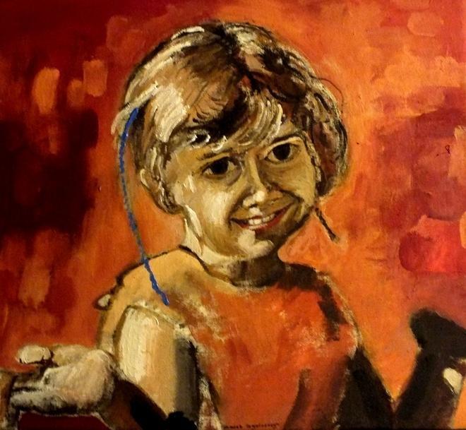 komunijny portret dziecka ze zdjęcia,olej i płótno