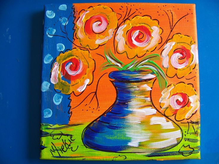 """Vase On Secondary Colours. By Miekie. Acrylic & Pen on Canvas. 8"""" x 8""""."""