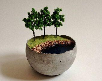 Riverbank scene in a little concrete bowl, miniature landscape, tiny decor, fairy garden