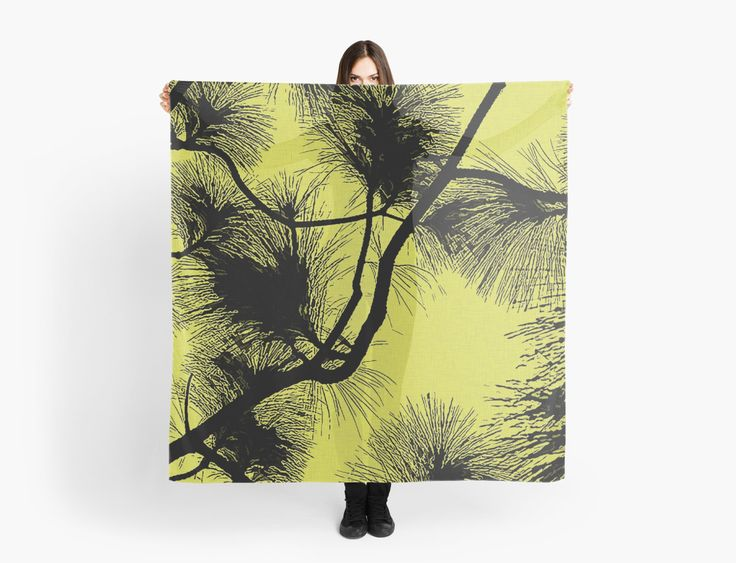 Desert flora, abstract pattern, floral design, black and yellow by cool-shirts