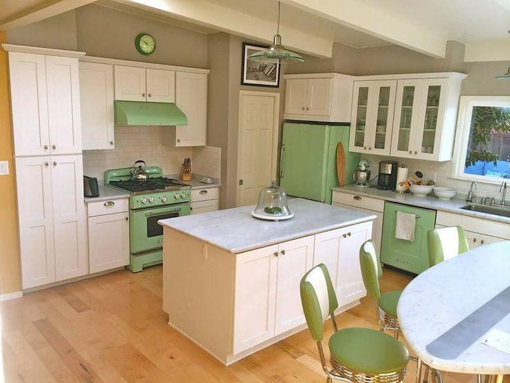 modern kitchen with retro accesories