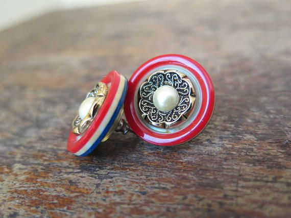 Boucles d'oreilles vintage Rouge bleu blanc perle Earring red white blue pearl