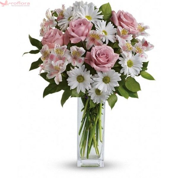 Sincerity - Buchet din trandafiri, crizanteme si alstroemerii