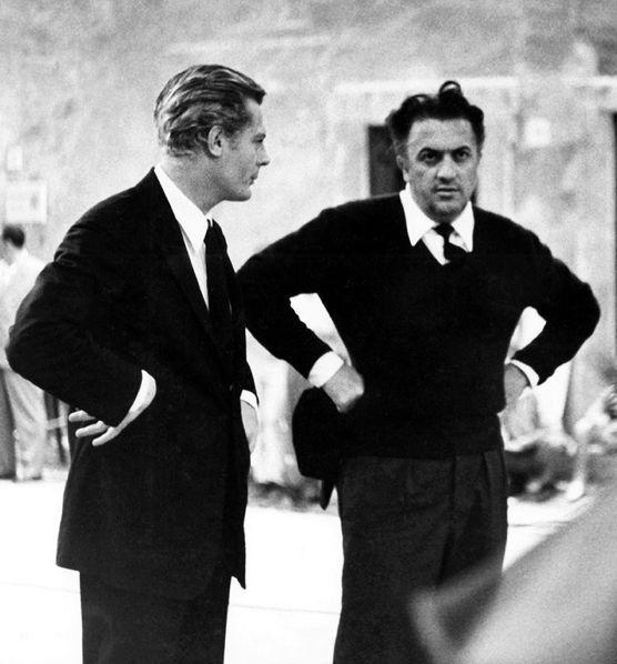 """Marcello Mastroianni and Federico Fellini on the set of """"8½"""", ca 1962."""