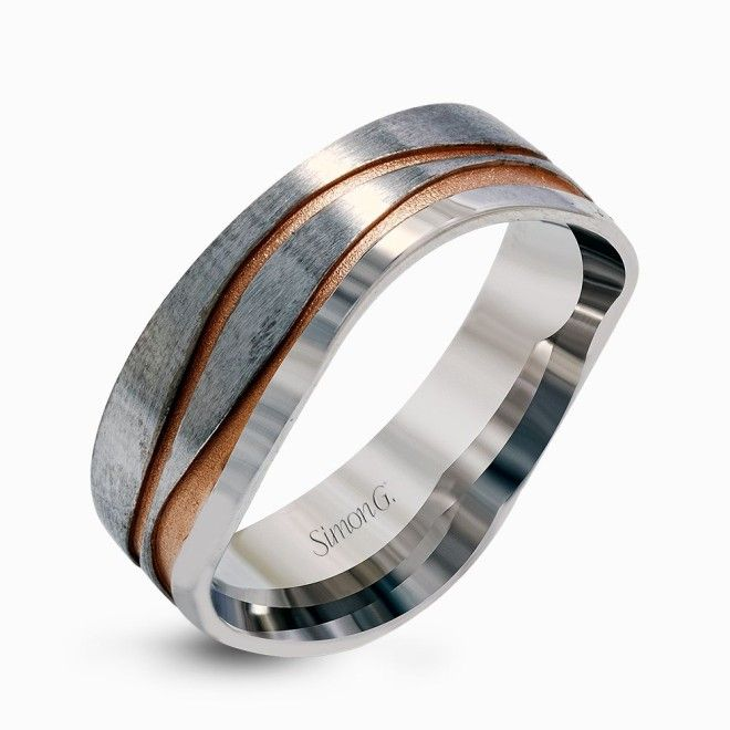 Contemporary White Gold Mens Wedding Band With A Distinctive Wavy Design In Rose From