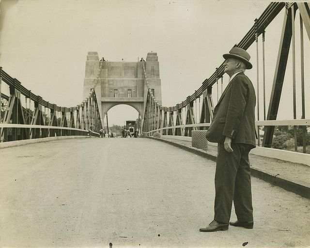 Gentleman inspecting the Walter Taylor Bridge at Indooroopilly, ca. 1938 by State Library of Queensland, Australia, via Flickr
