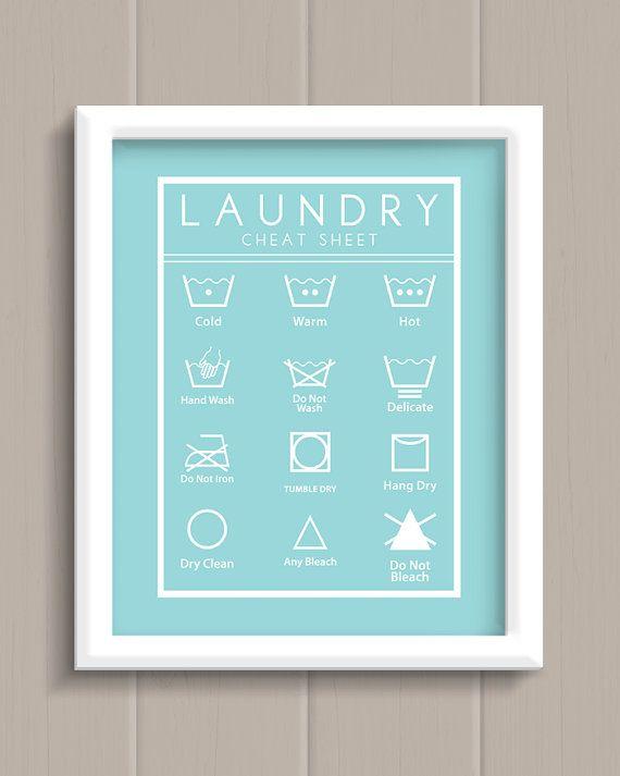 Buanderie Cheat Sheet Art Print - 5 couleurs au choix !