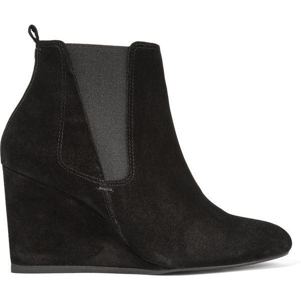 Lanvin Suede wedge ankle boots (£560) ❤ liked on Polyvore featuring shoes, boots, ankle booties, black, black wedge bootie, suede ankle boots, black suede ankle booties, wedge bootie and black ankle boots