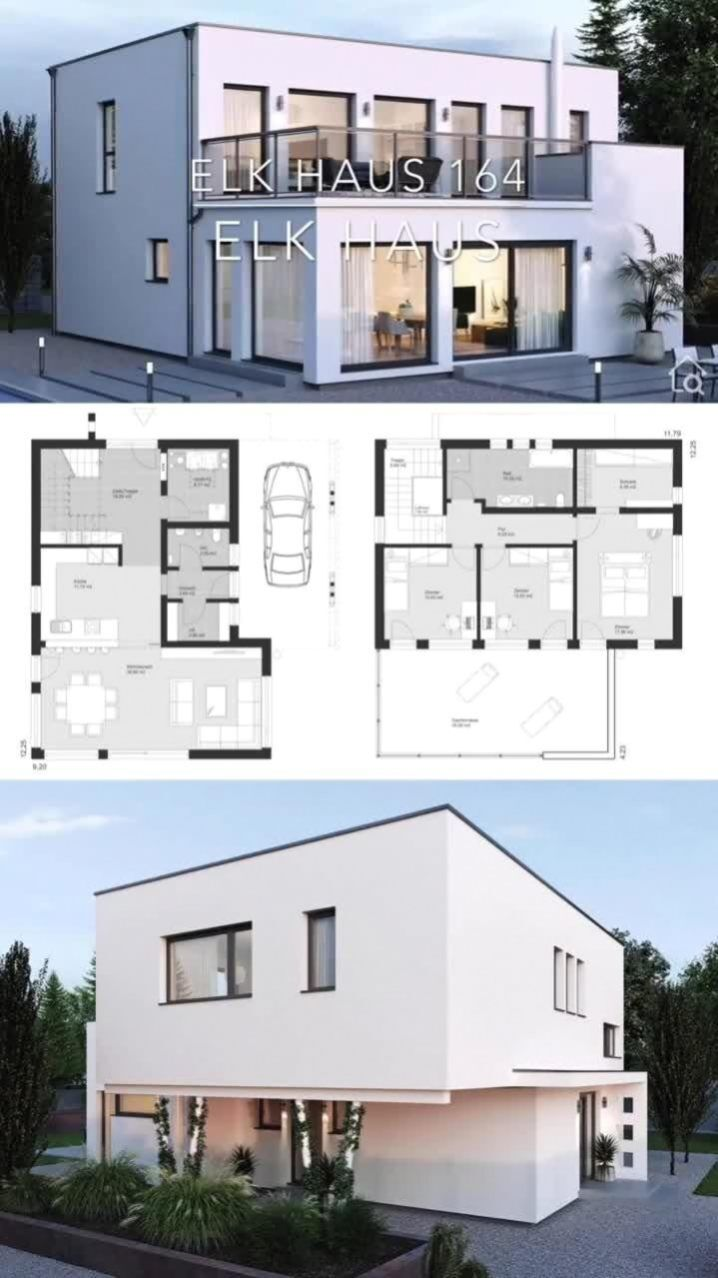 Detached House City Villa Modern In Bauhaus Style With Flat Roof White Plaster Facade Building In 2020 Model House Plan Modern Style House Plans Modern House Plans