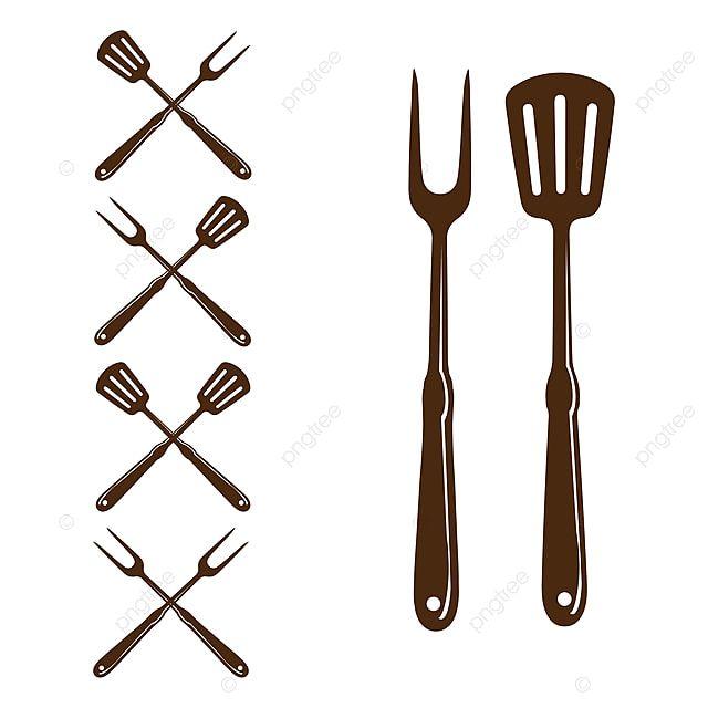 Gambar Spatula Dan Garpu Untuk Desain Logo Bbq Grill Barbeque Panggangan Clipart Panggangan Dipanggang Png Dan Vektor Dengan Latar Belakang Transparan Untuk Bbq Catering Logo Restaurant Icon Meals
