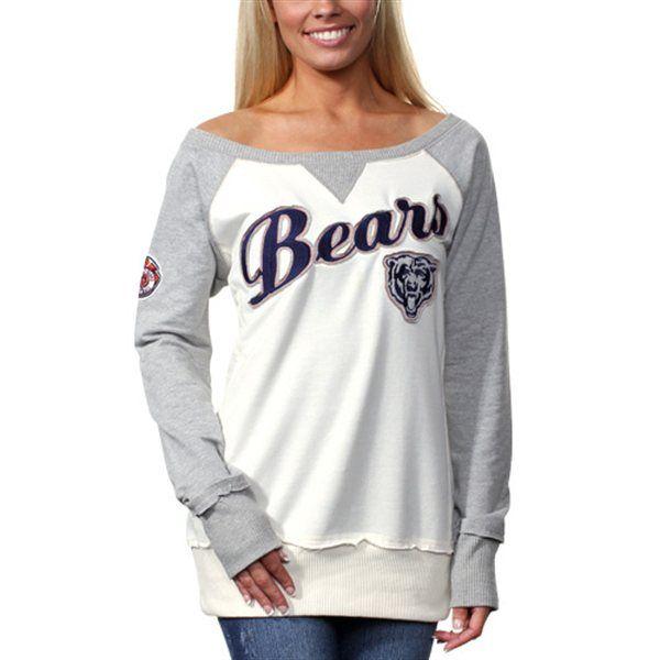 Chicago Bears Ladies Double Team Long Sleeve Sweatshirt - White/Gray