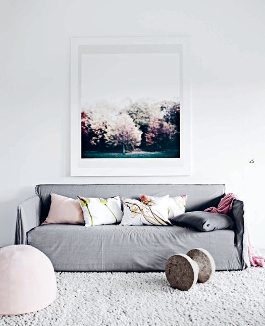 floral prints, pink and gray pillows...get the look at etsy.com/shop/noraquinonez