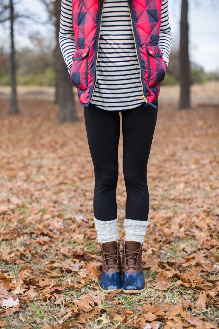 fall outfit idea, duck boots, buffalo plaid puffer vest, stripe turtleneck, fall layers