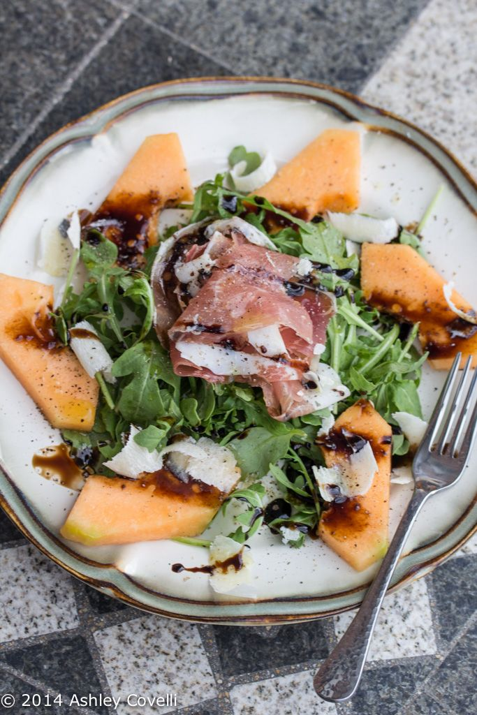 This salad really hit the spot. It was sweet, salty and satisfying. And it looked elegant, too. This would be a wonderful starter for a nice homemade Italian dinner.