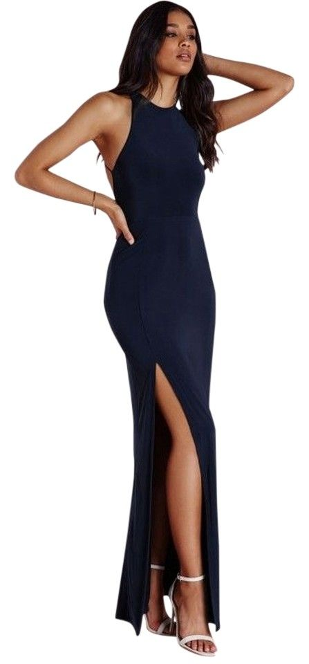 Missguided Navy Blue Nora High Neck Navy Maxi - Dress. Free shipping and guaranteed authenticity on Missguided Navy Blue Nora High Neck Navy Maxi - Dress at Tradesy. Nora High Neck Navy Maxi Dress - Missguided Slink...