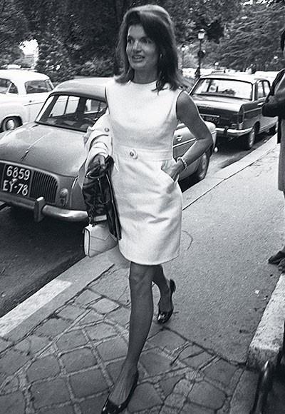I'm coveting Jackie's white shift dress.