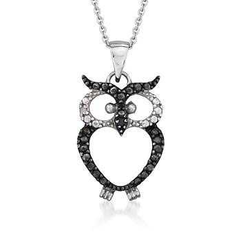 Black and White CZ Owl Pendant Necklace In Sterling Silver. For the owl-lover on your shopping list, we can't resist this adorable black and white owl pendant necklace! Tell us, whooo could ever resist his wise and knowing presence?: Pendants Necklaces, Cz Owl, Owl Necklaces, Black And White, White Owls, White Cz, Sterling Silver, Products, Owl Pendants