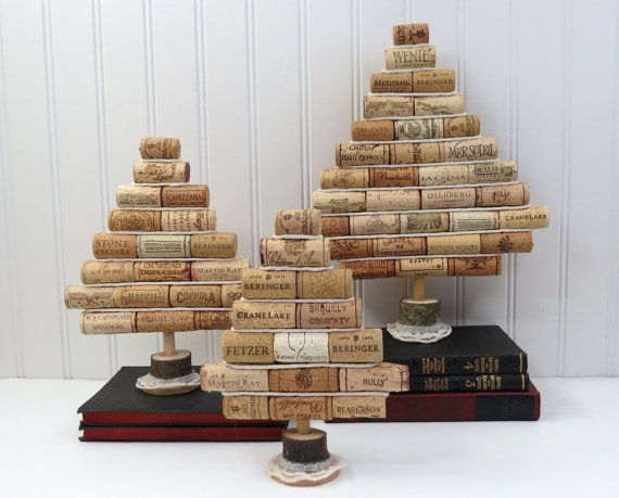 Mini Wine Cork Christmas Tree Tabletop by GoldenVineDesigns