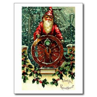 Santa Claus - Nautical Christmas Wishes Postcards
