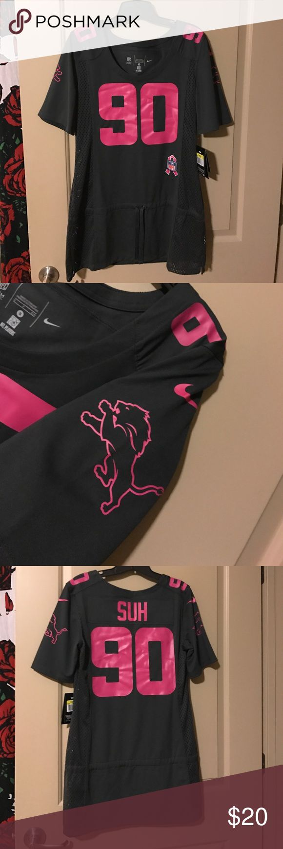 NFL women's breast cancer awareness jersey NFL jersey Lions #90 Suh- breast cancer awareness edition Nike Other