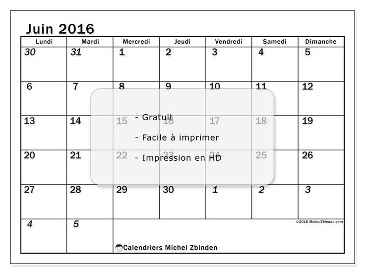 """Calendrier juin 2016 """"Julius (L)"""" à imprimer gratuit"""