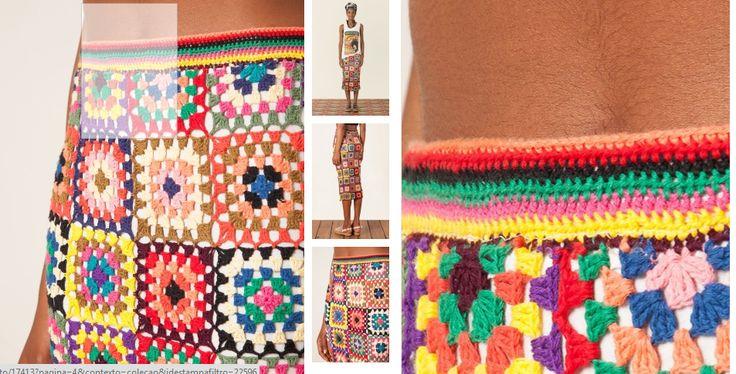 Nana crochê: Cropped e saia de crochê coloridos