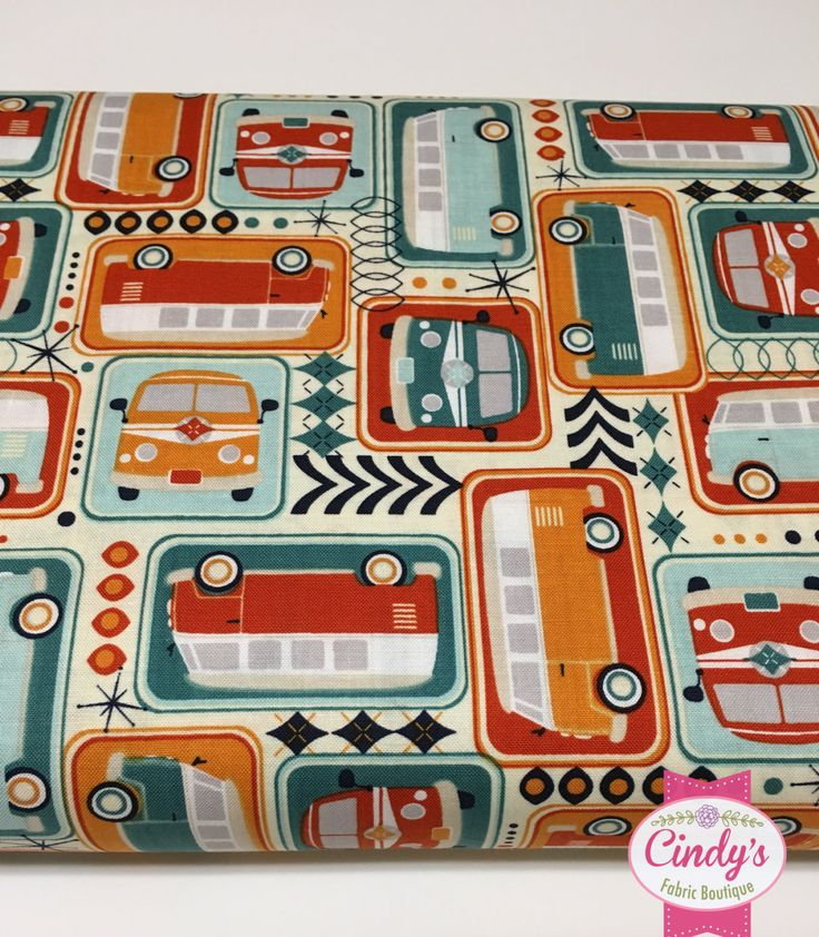 Keep On Groovin' Riley Blake Vintage Retro  Mini Bus  Bug Van Novelty  cotton quilt fabric by the 1/2 yard #C5240 by Cindysfabricboutique on Etsy