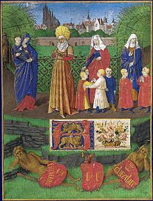 Sainte Anne and the Three Marie (Illumination by Jean Fouquet of the Book of Hours by Étienne Chevalier, inspired by La Légende dorée.